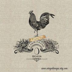 Farm Fresh Eggs. Instant Download Digital Image No.384 Iron-On Transfer to Fabric (burlap, linen) Pa Download Digital, Galo, Original Gifts, Transfer Paper, Oeuvre D'art, Digital Image, Line Art, Illustration, Images