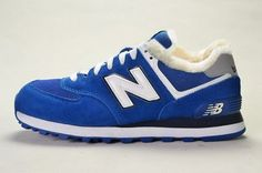 Joes New Balance ML574CPR Sneakers Blue White Suede Wool Fur Winter Mens Shoes