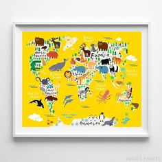 Animal World Map Yellow Background Wall Art Print. Prices from $9.95. Available at InkistPrints.com - #animal#worldmap#nursery#babyshowergift#giftformom#babygift #nurseryart