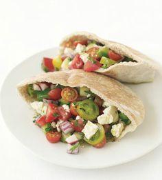 Greek Salad Pita Sandwiches: Recipe: bonappetit.com