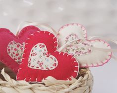 hanging felt hearts  Set of 3  red pink ivory  home by PrettyPlush, $20.00