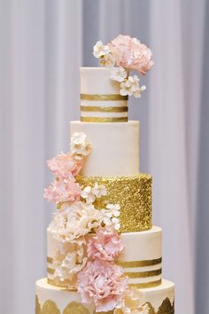 jenna rae cakes | hiebert photography | pink gold and glittery | see more cakes at http://boards.styleunveiled.com/all/cakes-and-desserts