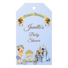 Royal Prince Castle Carriage Blue Gold Boy Gift Tags - home gifts ideas decor special unique custom individual customized individualized