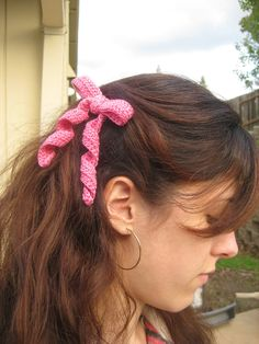 Pink Crocheted Ribbon Hairbow.