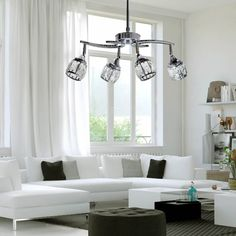 LED ceiling lamp with classic style Catania. It has 4 independently adjustable LED light bulbs. Perfect for large living rooms and dining rooms. Led Flush Ceiling Lights, Flush Lighting, Cool Lighting, Catania, Classic Ceiling, Luz Led, Fashion Room, White Light, Living Room