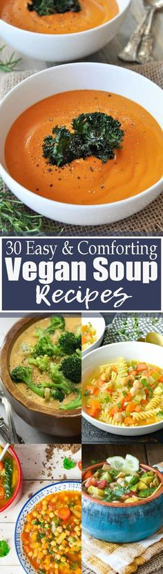 These 30 vegan soup recipes are perfect when you feel like having a warm, hearty, and comforting soup! They're all plant-based, healthy, and really easy to make. Find more vegetarian recipes at veganheaven.org