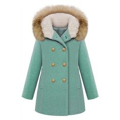 Double-breasted Faux Fur Hooded Long Sleeves Blue Coat   pariscoming