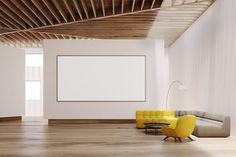 White living room interior, whiteboard