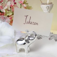Silver Calf Elephant Place Card Holder-Set of 4 – USD $ 9.99
