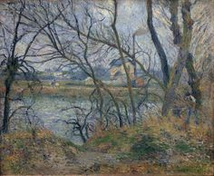 The Banks of the Oise near Pontoise, Grey Weather, 1877. Camille Pissarro