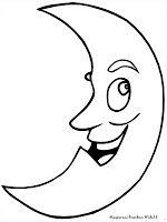Gambar Bulan Tersenyum Ceria Untuk Diwarnai