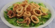 Finger Food Friday recipes are perfect for any occasion! Try this light, delicious Fried Calamari with a unique Chili Garlic dipping sauce. Mango Dipping Sauce Recipe, Garlic Dipping Sauces, Greek Recipes, Fish Recipes, Seafood Recipes, Recipies, Food Network Recipes, Cooking Recipes, The Kitchen Food Network