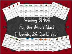 READING BINGO: Fun reading practice with 11 levels starting with sounds going all the up to advanced reading. Reading Bingo, Reading Practice, Bingo Board, School Stuff, Teaching Ideas, Kid Stuff, Day, Cards, Maps