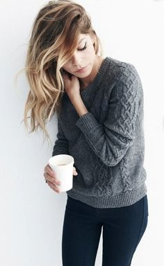 This girl has her priorities straight - Hair flipped, coffee in hand, light eyeliner, and obviously a perfect grey sweater