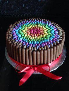 Smarties rainbow cake - chocolate cake, Cadbury Fingers and Smarties