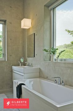 #gilberteinteriors, #concretehouse, #vermont, #newengland, #neutral, #riverview, #whitebathroom