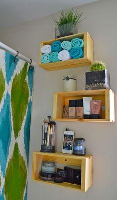 35 Creative DIY Rv Bathroom Remodel Organization Ideas - About-Ruth Wood Crate Shelves, Wood Crates, Wood Boxes, Crate Bookshelf, Bookshelf Ideas, Bathroom Storage Solutions, Bathroom Organization, Bathroom Shelves, Rv Bathroom