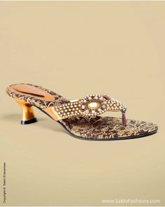 Faux Pearl and Stone embellished hand crafted footwear with Banaras Brocade base in Beige hue...perfect for Kanchivaram and pure silk attires!