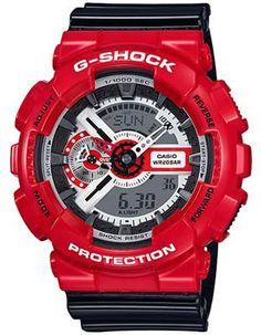 Casio Mens G-Shock - Red Case - Black Strap - Analog - Digital - 200m