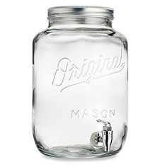 A perfect gift for the Mason jar lovers in your life, this 2-gallon embossed dispenser features a stainless screw on lid, a silver push-down, leak-free spout, and comes ready in gift box packaging.