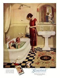 Illustration by Norman Price. I'm a bit puzzled by the scene in the mirror: who is that other woman speaking to the maid? Retro Bathroom Decor, Vintage Bathrooms, Art Deco Illustration, Vintage Illustrations, Saunas, Vintage Advertisements, Vintage Ads, Grand Art, Vintage Housewife