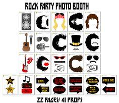 Ideas For Party Photos Booth Photos Booth, Photo Booth Props, Party Props, Party Themes, Ideas Party, Party Party, Glam Rock, Rock Sign, Rock Star Party
