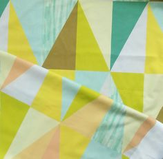 Printed cotton fabric - This fabric is for those who love contemporary geometrical patterns . Giant triangles in very trendy color palette . This fabric is designed by Alchemy&Fabric .Triangles are very large , one row of triangles is high Triangle Print, Curtain Fabric, Trendy Colors, Alchemy, Triangles, Printed Cotton, Cotton Fabric, Quilts, Blanket