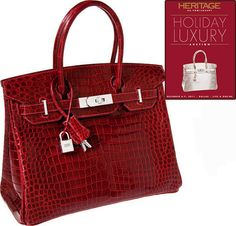 "Because I sure as heck wouldn't! I know it's Christmas and all, but come on? $203,150 for a bag?    At a recent auction that took place in Dallas, Texas, a particular Hermes Birkin bag made from red alligator skin and equipped with precious hardware (18k white gold paved with diamonds) was sold for no less than six figures (I refuse to write that price again, it's scandalous!). Someone must have been on top of Santa's ""Good"" list! (wink)  @Kelly Reindl, this would look good with my jeans…"