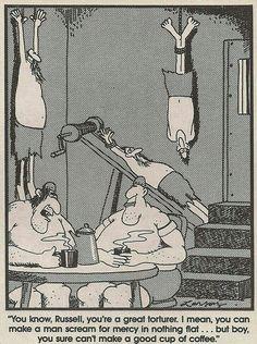"""The Far Side"" by Gary Larson. Cartoon Jokes, Funny Cartoons, Funny Comics, Far Side Cartoons, Far Side Comics, Haha Funny, Funny Memes, Funny Stuff, Hilarious"
