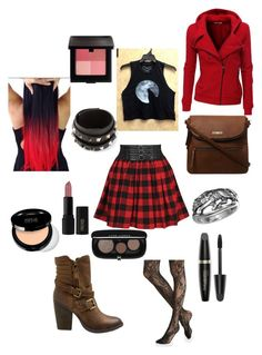 """""""Modern Red Riding Hood"""" by hannahc1133 ❤ liked on Polyvore featuring Express, Forever 21, Steve Madden, Dorothy Perkins, Doublju, Laura Mercier, Valentino, Max Factor, INIKA and modern"""