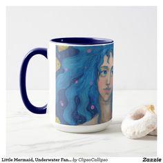 Little Mermaid, Underwater Fantasy Art, Pink Blue Mug