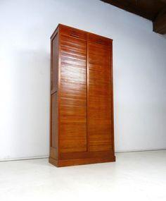 Büroschrank holz  Rolladenschrank Antik Aktenschrank Holz Jalousieschrank Vintage Alt ...