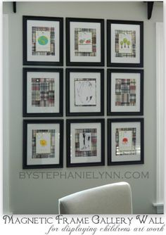 Magnetic Frame Gallery.  Display kid's artwork without removing the glass.  Magnets work thru the glass