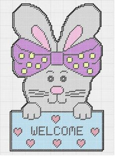 BUNNY WELCOME by KATHY Plastic Canvas Christmas, Plastic Canvas Crafts, Plastic Canvas Patterns, Easter Projects, Easter Crafts, Canvas Wall Decor, Wall Patterns, Cross Stitching, Beading Patterns