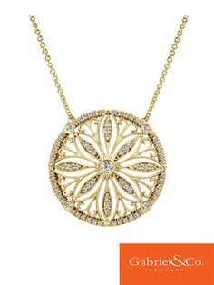 14k Yellow Gold Diamond Necklace by Gabriel & Co. - Really want to use this pattern for some kind of symbol in the book.
