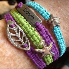 Bracelets.  http://www.elizabethabernathy.com/2010/10/tutorial-square-knot-macrame-bracelet.html#  This link shows you how to Make it