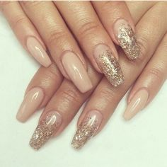 Nude & Gold Coffin nails! So pretty!