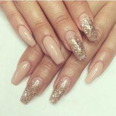 Nude & Gold Coffin nails! So pretty!
