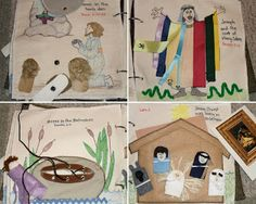 "1)""Daniel in Lion's Den"" 2) ""Joseph and Coat"" has ribbons for stripes, 3) ""Moses in Bulrushes"" thread the basket 4) ""Christ's Birth"" finger puppets"