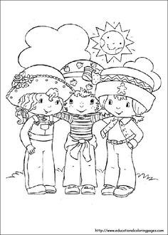 Loads of cute colouring pages here, such as this Strawberry Shortcake one