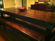 Barnwood Table... I can't decide if I want benches or chairs more! But I love this table!! -MT