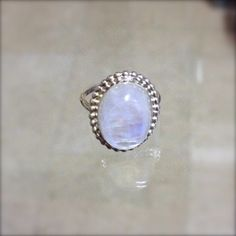 large moonstone dress ring in sterling silver