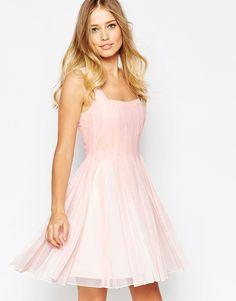 Image 1 ofASOS Square Mesh Fit and Flare Mini Dress
