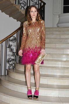 Rosie Fortescue | Matthew Williamson liquid sequin gold and pink feather dress