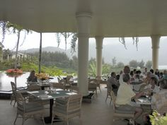 St. Regis Princeville Resort restaurant - overlooking Hanalei Bay - worthy of a visit - excellent service, good food and extraordinary view.
