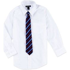 George Boys Packaged Dress Shirt-Tie, Size: L (10/12), White