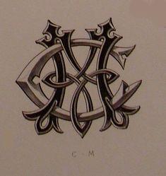 """Monograma de todo el alfabeto Demengeot, 1881.  Coloreado, en forma de azulejo         DEMENGEOT, Ch. """"DICTIONNAIRE DE  CHIFFRE-..."""
