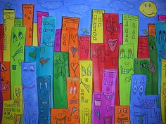 """James Rizzi cities: fifth graders in our art classes. Using tempera paint, colored pencils, and pieces of cardboard to raise the cities, fifth graders have been constructing art inspired by Rizzi. It's hard to see from the pictures, but the city """"pops"""" out. Each layer has cardboard behind to make it appear 3D,"""