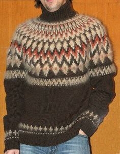 Icelandic Sweaters, Wool Sweaters, Knitted Gifts, Fair Isle Knitting, Hats For Men, Warm And Cozy, Knitwear, Knitting Patterns, Men Sweater