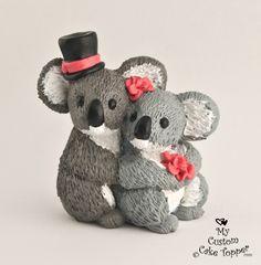 Koalas Wedding Cake Topper Bride and Groom Customized. $90.00, via Etsy.